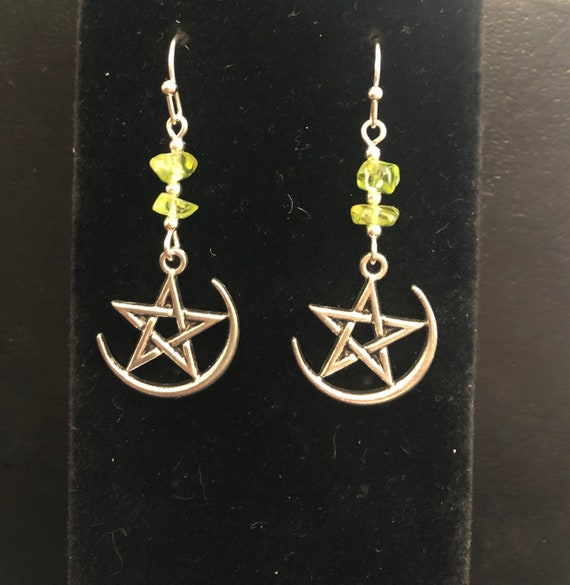 Moon and Stars Earrings with Peridot stones