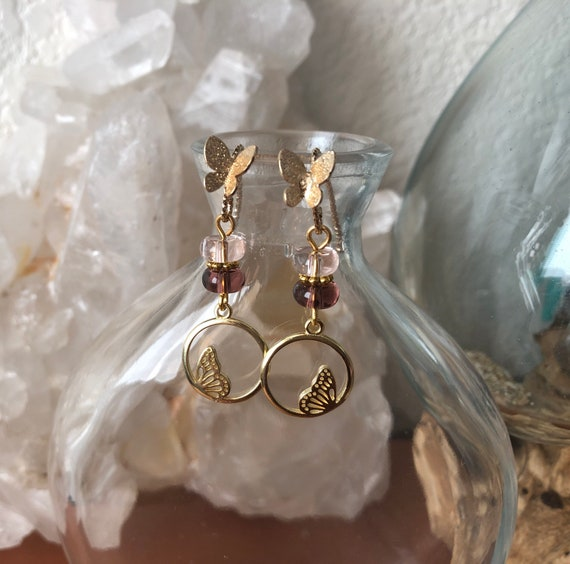 Butterfly 18kt Gold plated earrings with Glass beads