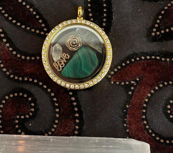 Blue Andara Quartz Point Malachite with Gold Love Rose Locket Pendant Heart Chakra