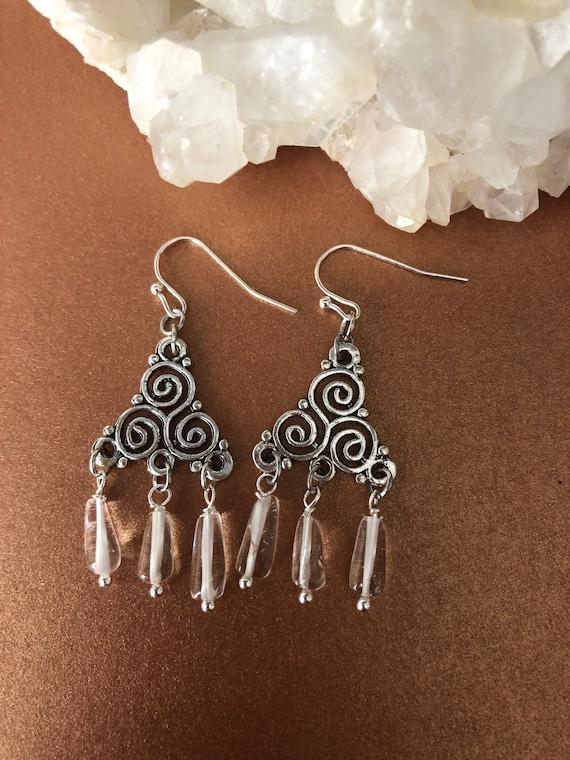 Triple Spiral with Quartz earrings