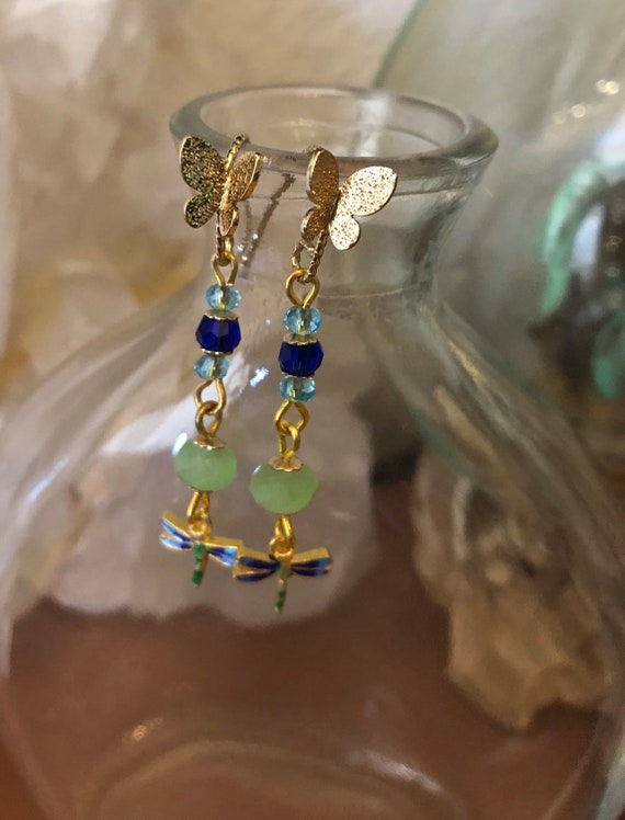 Butterfly and Dragonfly 18kt Gold plated earrings Blue and Greens