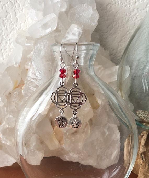 Ohm Yoga Meditation Lotus Flower Earrings Root Chakra
