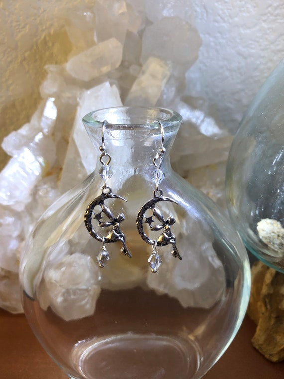 Earth Air Elementals Fairy Moon and Stars earrings