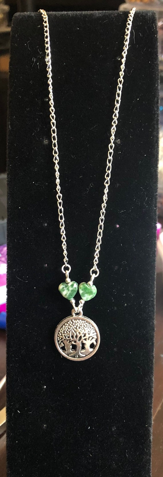 Forest Trees Necklace with Tree Agate Heart beads 18 inches long