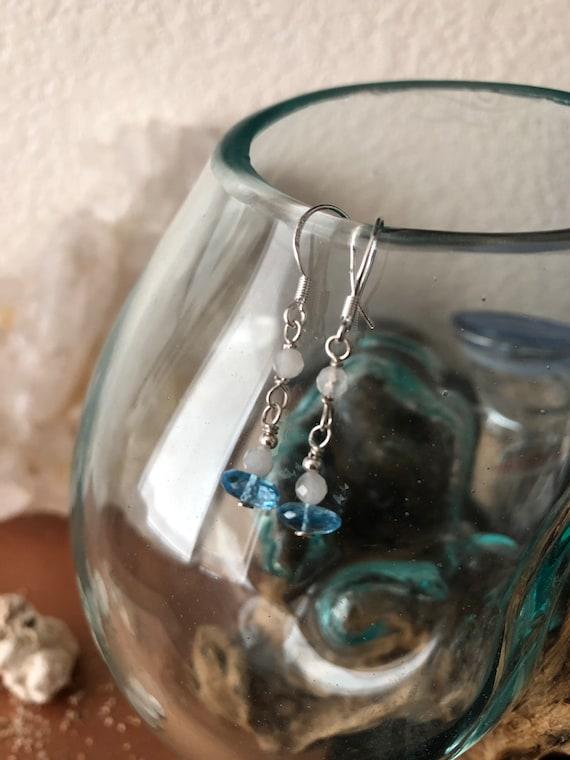 Sterling Silver Swiss Blue Topaz and Moonstone Earrings