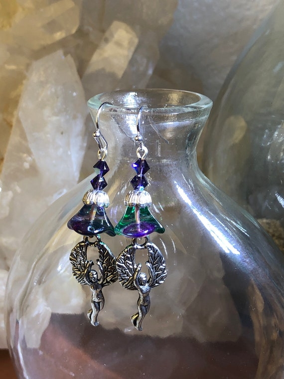 7.00 Forest Fairy earrings Purple and Green