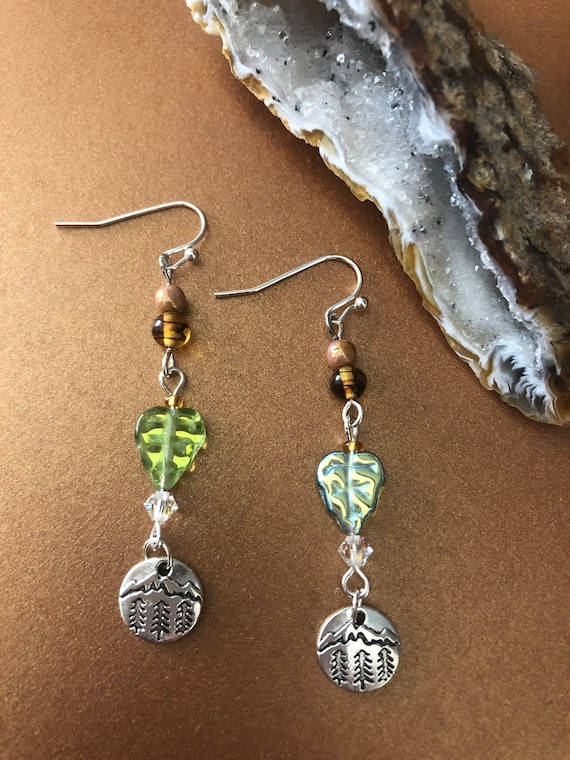 Tibetan Silver Tree Forest earrings with Beautiful Glass Beads