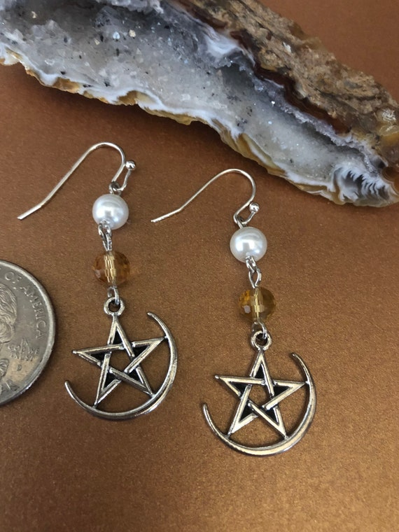Silver Moon and Stars Earrings
