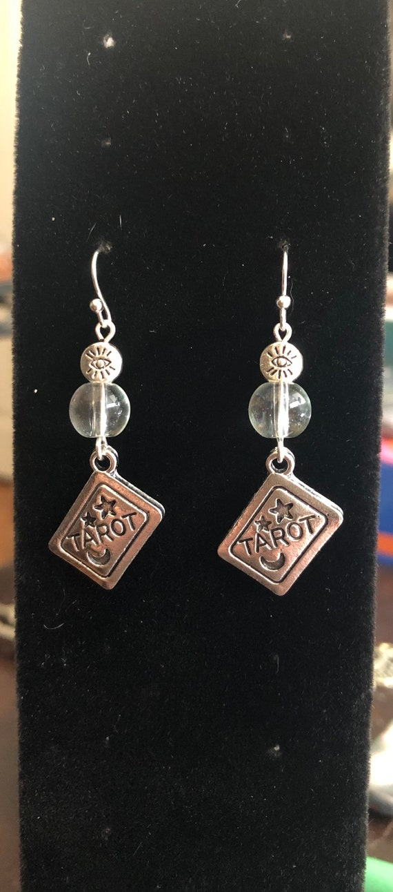 Tarot Card and Beautiful Quartz all seeing Crystal Ball Earrings