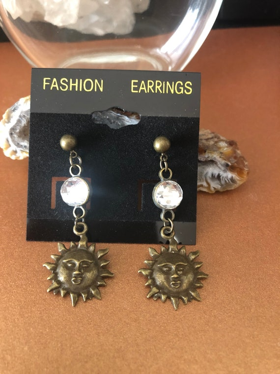 Bronze color Sun Sole Earrings with Swarovski Crystals