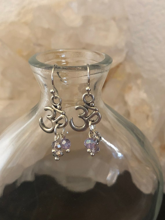 Silver Ohm Meditation earrings with Twinkling beads