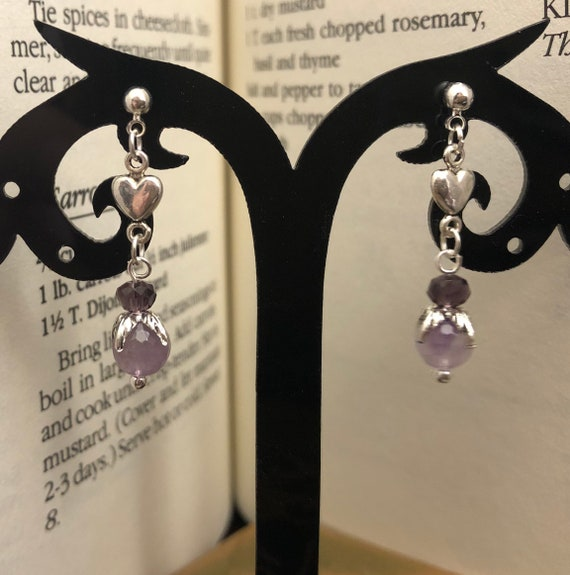 Hearts and Amethyst earrings