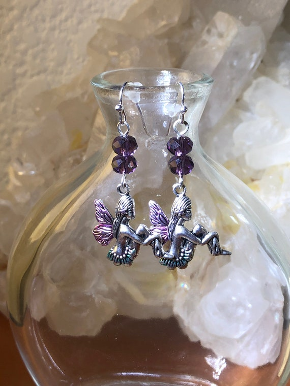 5.55 Earth and Air Elementals Fairy with Purple glass beads