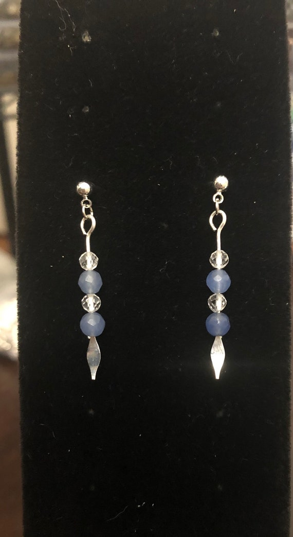7.00 Blue Sapphire and Quartz Crystal Beads on Silver plated earrings
