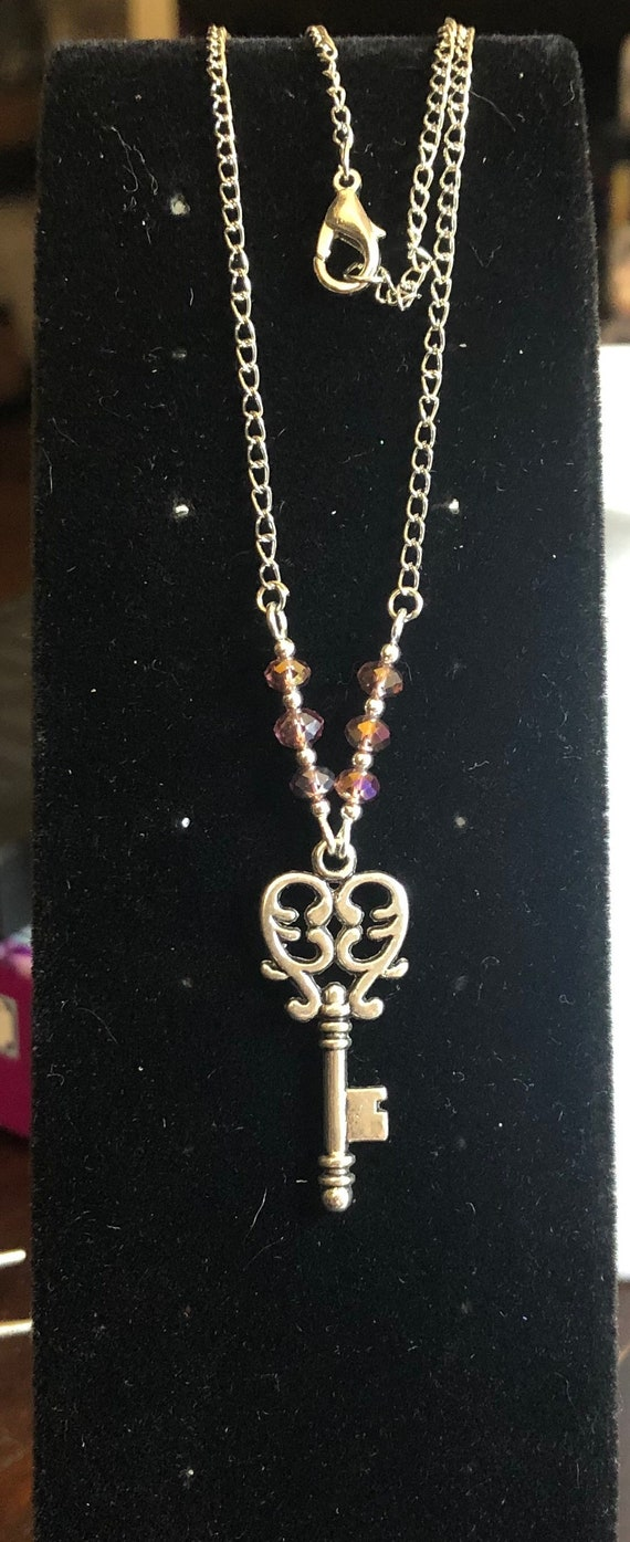 Key To My Heart Necklace Silver and Rose color 16 inches long