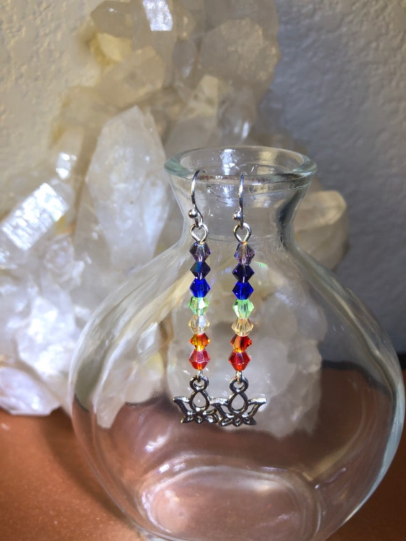7.00 Lotus Flower with Chakra Rainbow Colors Ohm Earrings
