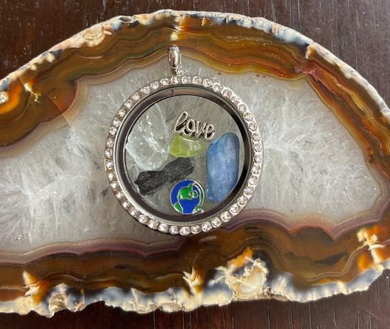 Blue Andara Kyanite Peridot Black Tourmaline locket Pendant Love Earth Gaia Terra