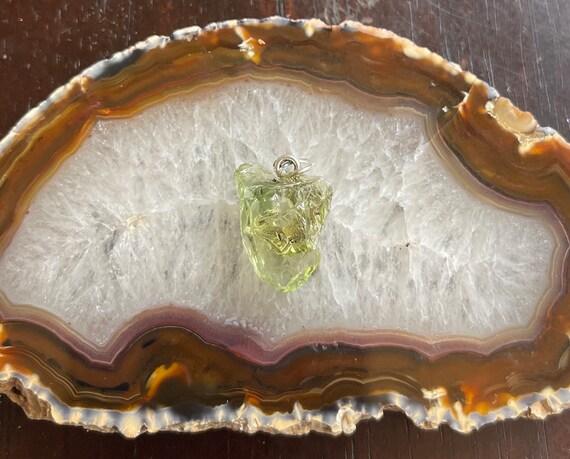 Green Andara Andarian Liquid Light Crystal Pendant Heart Chakra 6 Point Star