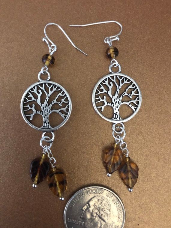 Tibetan Silver Tree of Life earrings with Beautiful Glass Beads