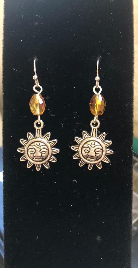 7.00 Fire Elements Aztec Sun, Bronze colored Earrings