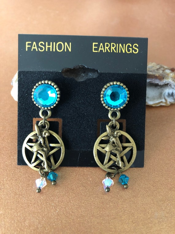 Bronze Teal blue and Pink Pentagram Fairy Wicca Earrings Swarovski Crystals