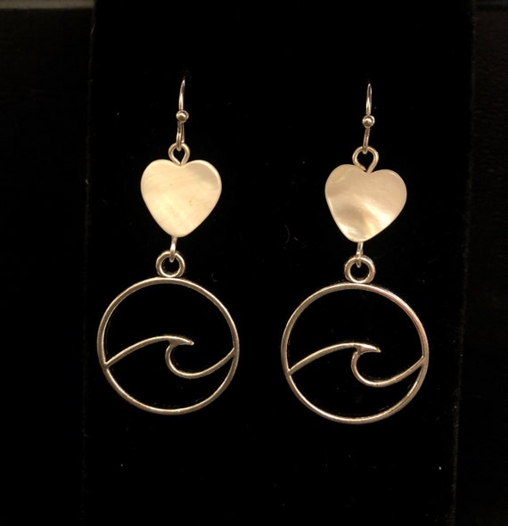 Water elements Ocean Waves Earrings with Mother of Pearl