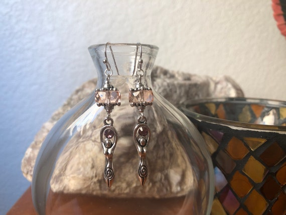 Spiral Goddess Love Pink Wicca Pagan earrings