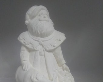 """Santa with Reindeer 10"""" Ceramic Bisque, Ready To Paint"""