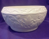 Arnels Leaf Embossed Planter 7 quot x 5 1 2 quot ready to paint ceramic bisque