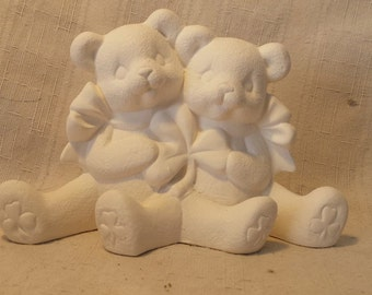 C518 Ceramic Bisque 3 12 x 5 12 Cuddle Bears with Flowers Ready to Paint