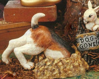 """TL Dog in dirt hole with rabbit ready to paint 12"""" ceramic bisque"""