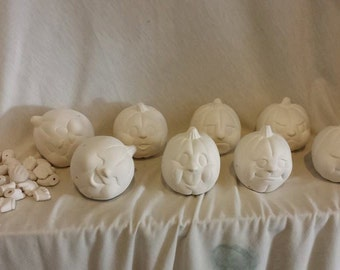 """Pumpkin Noggins 3"""" set of 8 with hands and feet ready to paint ceramic bisque"""