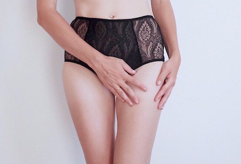 2d4f996f234f0 Black Lace Underwear High waist Sheer Panties | Etsy