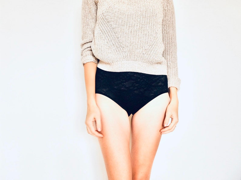 Hipster style Panties Flower texture black lace Panties Handmade Knickers in all Sizes.