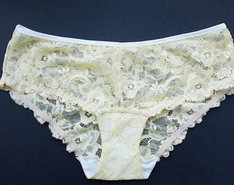 Women Panties. Pale yellow Lace. lingerie for women. Low rise Knickers.