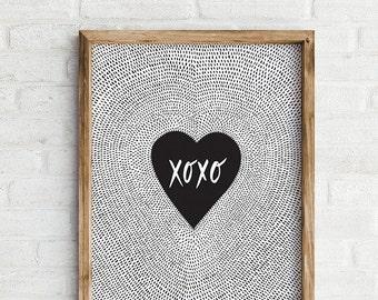 XOXO Art Print, Hand Lettered Wall Art, Anniversary, Love Print