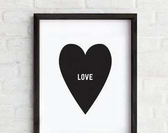 In Love Art Print, Heart decor, Wall art