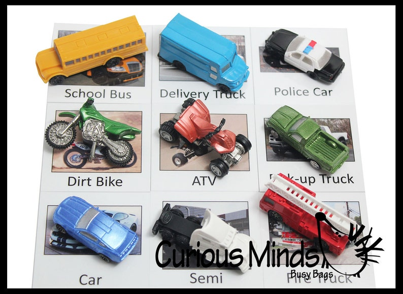 Match Cars and Truck Miniatures to Photos Transportation Vehicles to Matching Cards