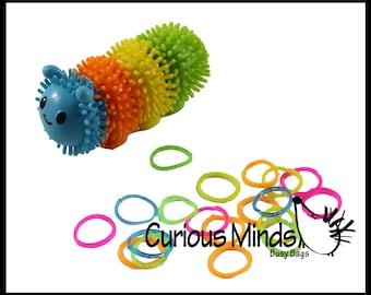Rubber Band Wrap Caterpillar Activity  fine motor busy bags OT