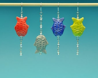 Handpainted Peruvian Fish Earrings with Bubbles