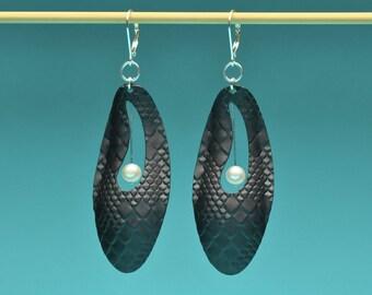 Vintage Black Aluminum Hoop Earrings
