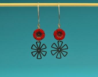 Matte Black and Poppy Red Flower Earrings