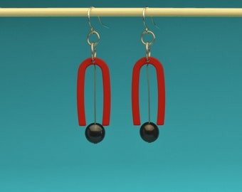 Matte Red U Shape Earrings with Pearls