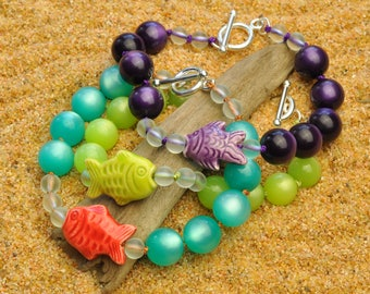 Lime Green Bracelet with Hand Painted Peruvian Fish and Bubbles