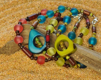 Tagua Nut and Fair Trade Resin Hand Knotted Bracelet