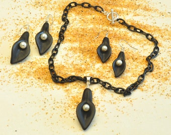 Black Calla Lily with Pearl Necklace