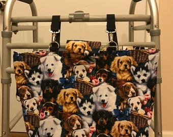 Dogs and Puppies, and more dogs and puppies, reversible walker - rollator bag