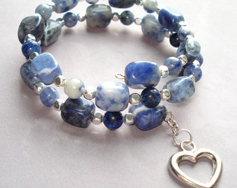 Sodalite Wrap Bracelet with Silver Plated Heart Charm