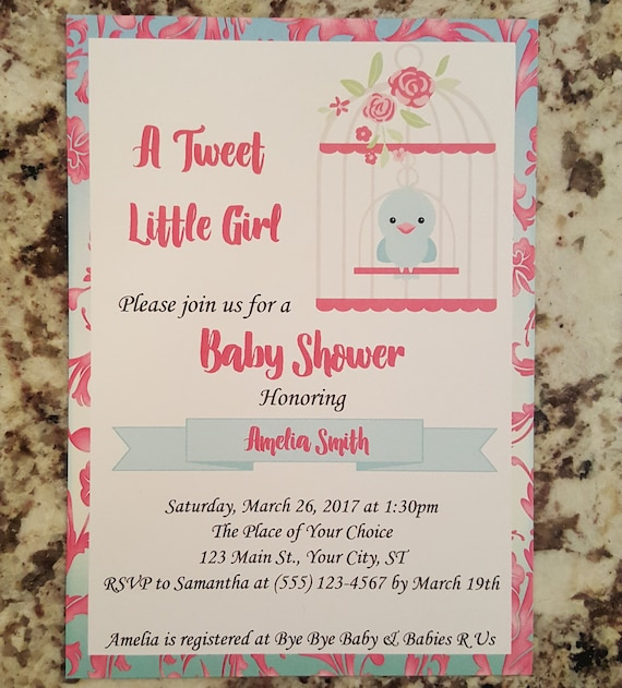 Printable Tweet Baby Girl Baby Shower Invite Mms005 Etsy
