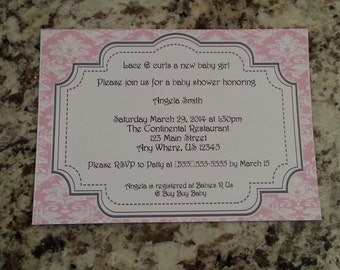 Pink Damask Baby Shower Invite